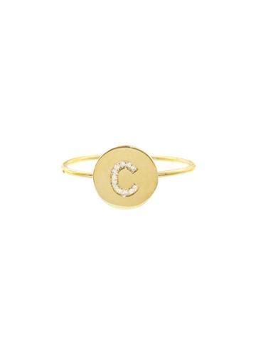 Jennifer Meyer Diamond Mini Disc Ring - Initial C