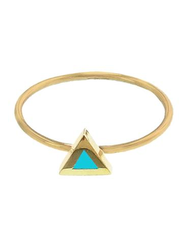 Jennifer Meyer Turquoise Inlay Triangle Ring