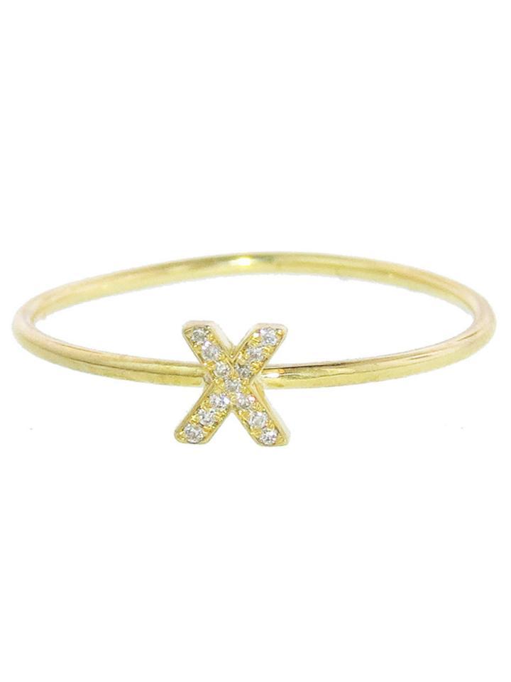 "Jennifer Meyer Diamond ""x"" Stacking Ring - Yellow Gold"