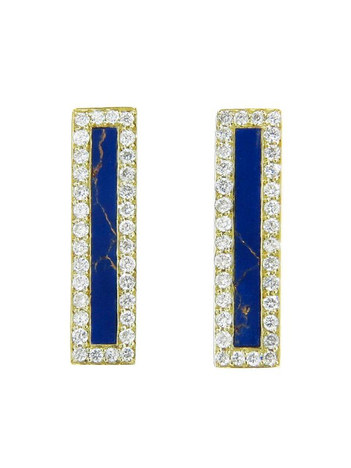 Jennifer Meyer Diamond Lapis Inlay Long Bar Studs - Yellow Gold