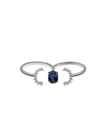 Maison Margiela Pompadour Deconstructed Double Ring With Sapphire