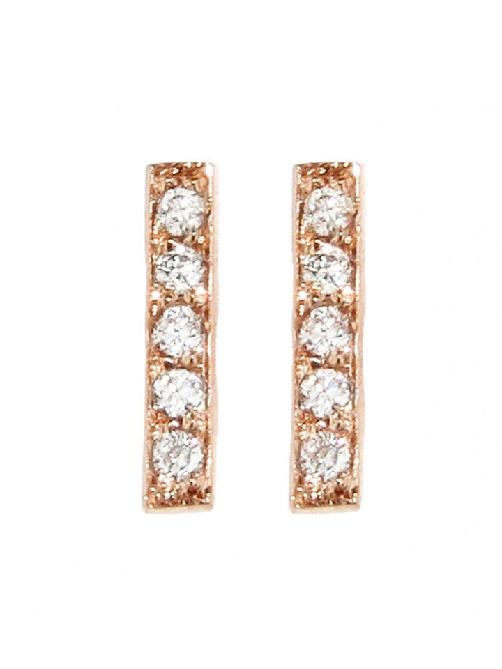 Jennifer Meyer Diamond Bar Studs - Rose Gold