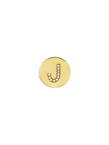 Jennifer Meyer Personalized Diamond Mini Disc Stud - Initial J