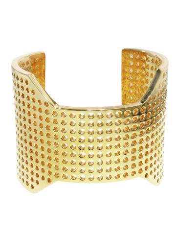 Jennifer Fisher Extra Large Perforated Cuff - Designer Yellow Gold Bracelet