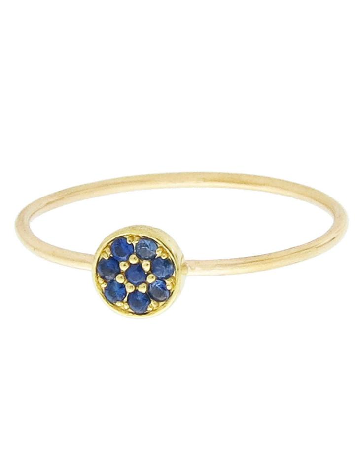 Jennifer Meyer Blue Sapphire Circle Ring - Yellow Gold