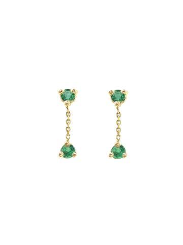 Wwake Small Two-step Emerald Chain Earrings