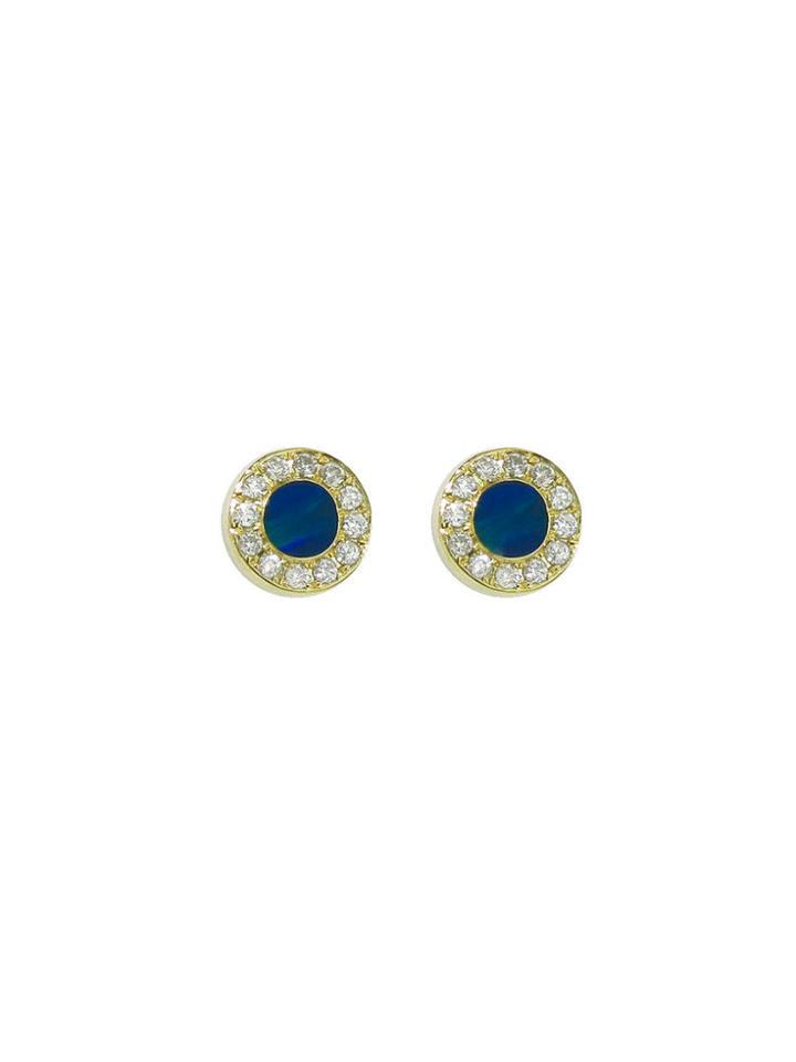 Jennifer Meyer Diamond Opal Inlay Circle Studs - Yellow Gold