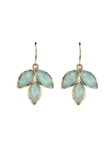 Irene Neuwirth Triple Aqua Leaf Earrings - Yellow Gold
