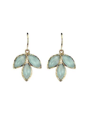 Irene Neuwirth Triple Aqua Leaf Earrings - Yellow Gold