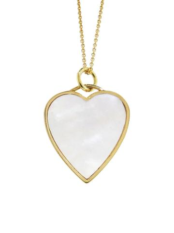 Jennifer Meyer Mother Of Pearl Heart Inlay Necklace