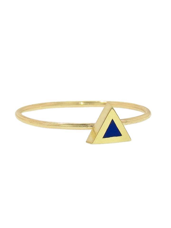 Jennifer Meyer Lapis Inlay Triangle - Yellow Gold Ring