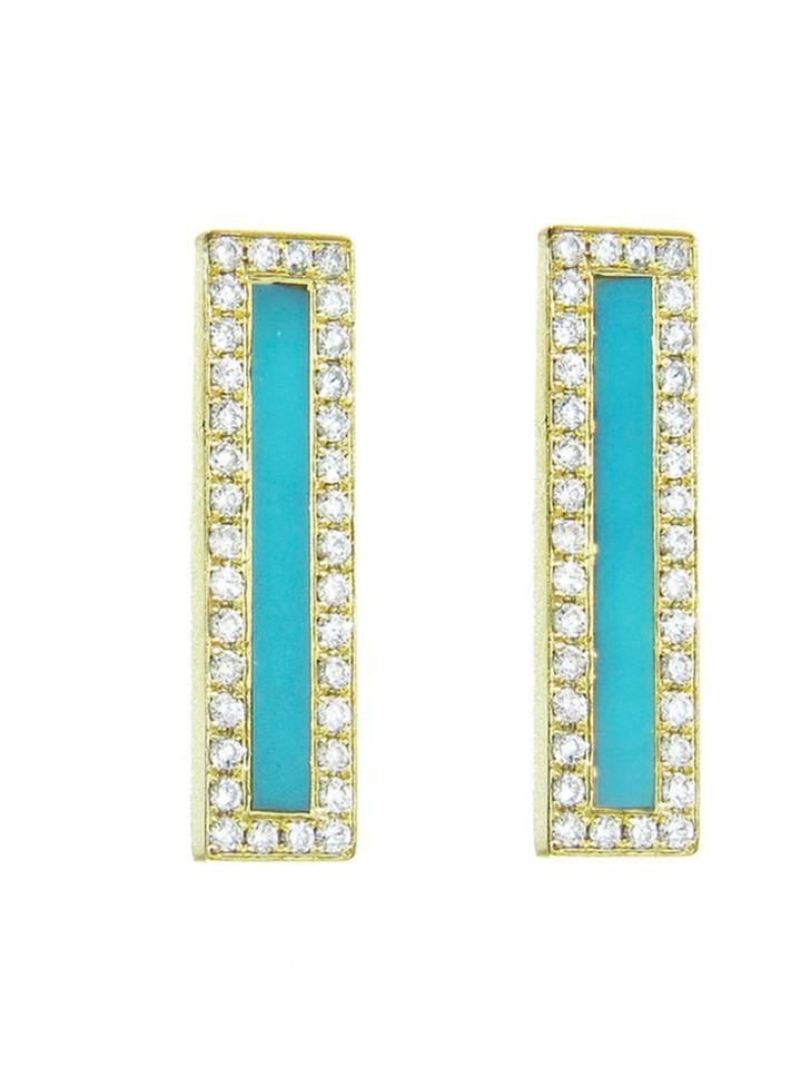 Jennifer Meyer Diamond Turquoise Inlay Long Bar Studs - Yellow Gold