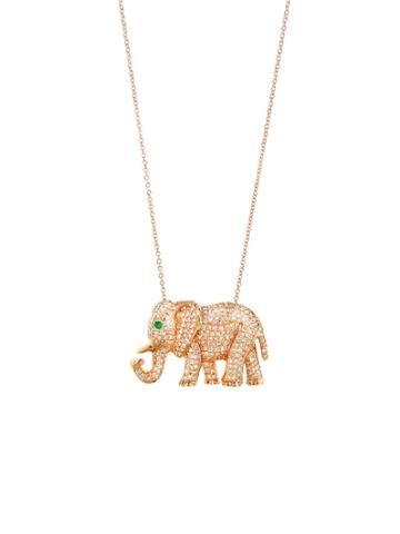 Jennifer Meyer Diamond Elephant Pendant - Rose Gold