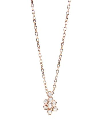 Kataoka Tiny Diamond Flower Necklace - Rose Gold