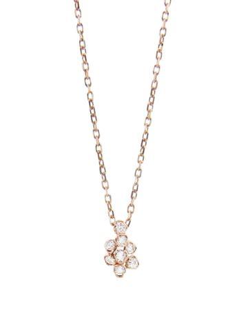 Kataoka Tiny Diamond Flower Necklace - Rose Gold