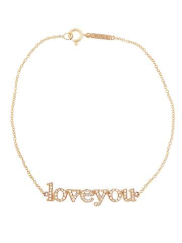 Jennifer Meyer Diamond Loveyou Statement Bracelet - Rose Gold