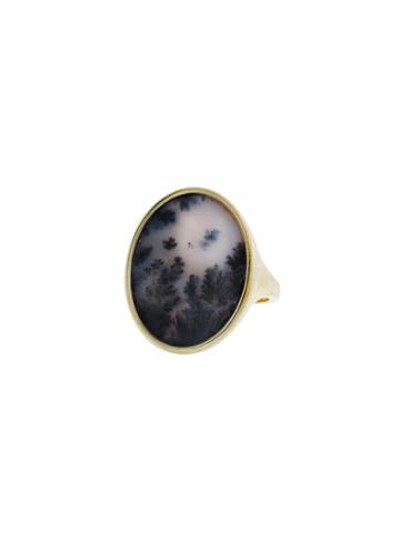 Monique Péan Dendritic Agate Oval Ring In Yellow Gold - Blush