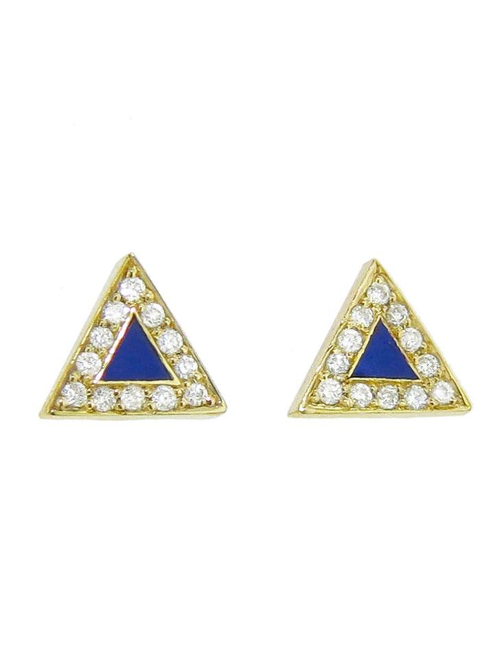Jennifer Meyer Diamond Lapis Inlay Triangle Studs - Yellow Gold