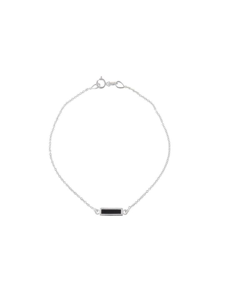 Jennifer Meyer Black Onyx Inlay Bar Bracelet - White Gold