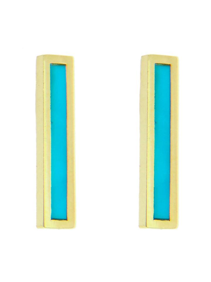 Jennifer Meyer Turquoise Inlay Long Bar Studs - Yellow Gold