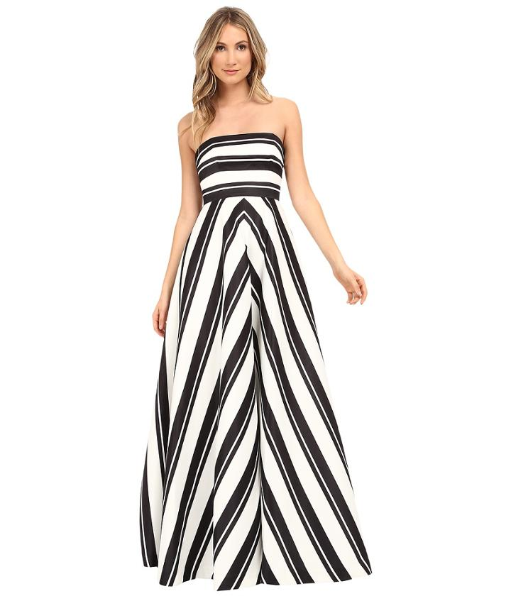 Halston Heritage - Strapless Placement Print Structured Gown