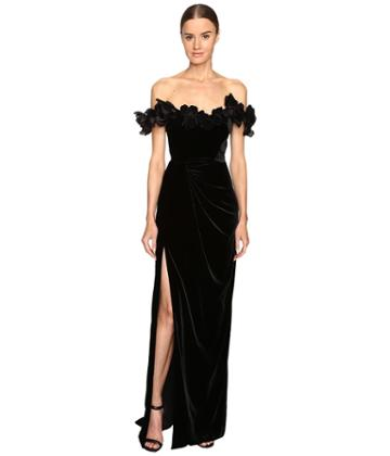 Marchesa - Velvet Off The Shoulder Column Gown With High Slit Embellished With Laser-cut Organza And Velvet Flowers