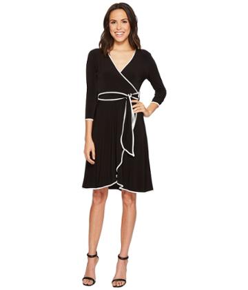 Calvin Klein - 3/4 Sleeve Faux Wrap Self Tie Dress With Piping Cd8a14hg