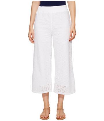 Mod-o-doc - Cotton Eyelet Wide Leg Crop Pants