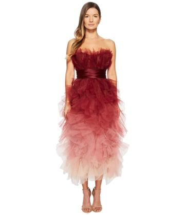 Marchesa - Strapless Cocktail In Ombre Tulle Dress