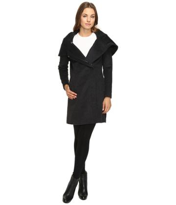 Cole Haan - Hooded Asymmetrical Zip Front Coat
