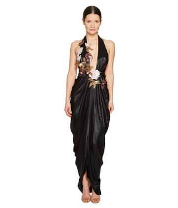 Marchesa - Halter Grecian Gown W/ 3d Sequin Flower Corsages