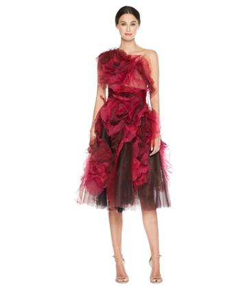 Marchesa - Tea Length A Line Fishnet And Cocktail Textured Flowers