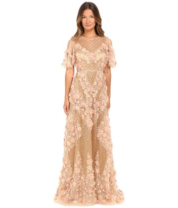 Marchesa - Fully Embroidered Facetted Bead A-line Gown With Three Dimensional Textured Flowers And Flared Sleeves