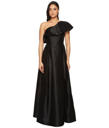 Adrianna Papell - One Ruffle Shoudler Faille Long Gown