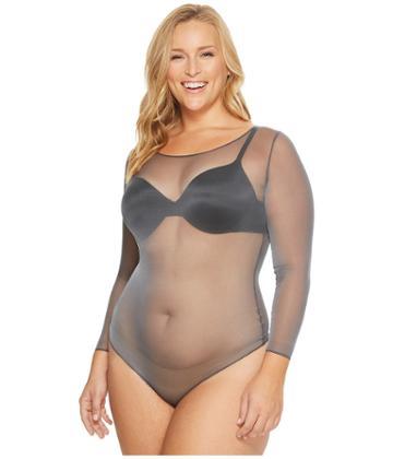 Spanx - Plus Size Sheer Long Sleeve Bodysuit