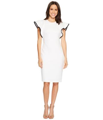 Calvin Klein - Ruffle Sleeve With Piping Scuba Sheath Dress Cd8m16gz