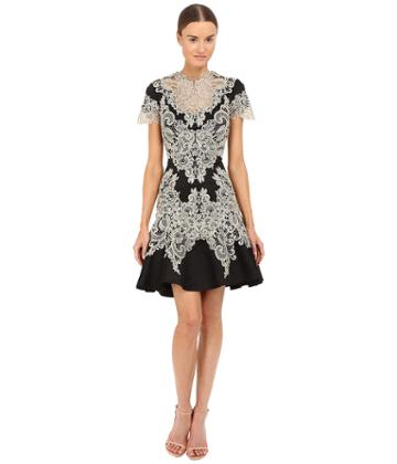 Marchesa - Stretch Crepe Fitted Cocktail With Flared Skirt Gold Beaded Appliques And Cut Out Details