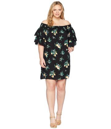 Kari Lyn - Plus Size Lemon Print Off The Shoulder Dress