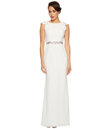 Adrianna Papell - Fluttered Short Sleeve Beaded Crepe Gown