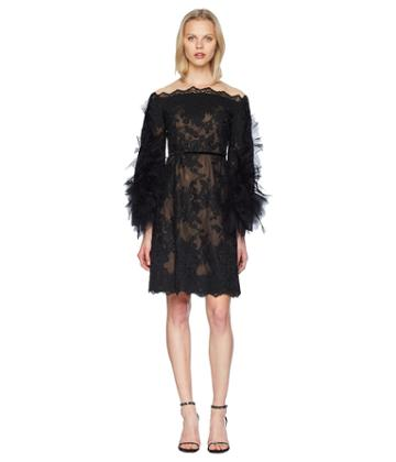 Marchesa - Off The Shoulder Corded Lace Cocktail W/ Tulle Sleeves