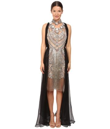 Marchesa - Crystal And Antique Silver Jeweled Necklace Cocktail With Bugle Bead Fringe And Black Chiffon Grecian Drape