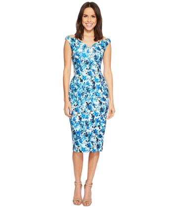 Calvin Klein - Off Shoulder Floral Print Sheath Dress Cd8m34fw