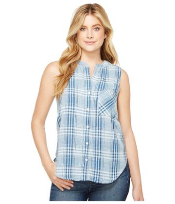 Dylan By True Grit - Genuine Indigo Linens Hayley Sleeveless Shirt Denim Small Plaids