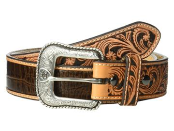Ariat - Croc Embossed With Turquoise Stone Belt