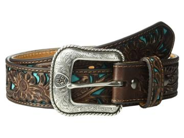 Ariat - Floral Embossed Turquoise Underlay Belt