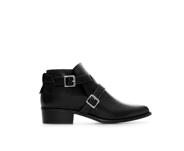 Zara Leather Ankle Boot With Buckles